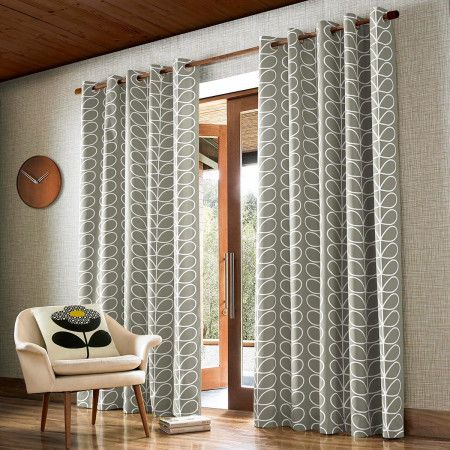 Orla Kiely Linear Stem Eyelet Curtains Silver Orla Kiely Curtains Orla Kiely Curtains Living Room