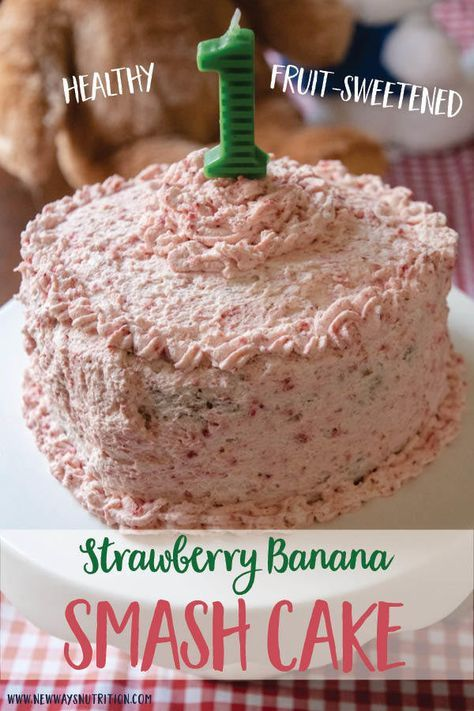 This easy and healthy fruit-sweetened smash cake is a great option for your baby's birthday. Fruit-sweetened with bananas and strawberries, and a simple whip cream frosting to top it off! Bonus: It's great as muffins for breakfast or snacks! Smash Cake Recipes, Healthy Cake Recipes, Baby Food Recipes, Blender Recipes, Jelly Recipes, Healthy Birthday Cakes, Baby Birthday Cakes, Fruit Birthday, Teen Birthday