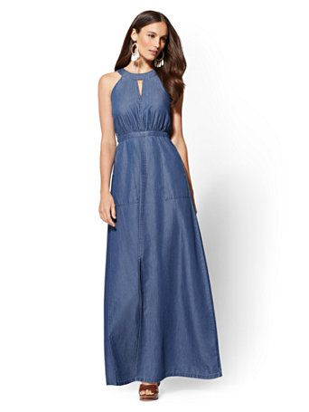 5c496ab640 Shop Chambray Halter Maxi Dress - Dark Wash. Find your perfect size online  at the best price at New York   Company.