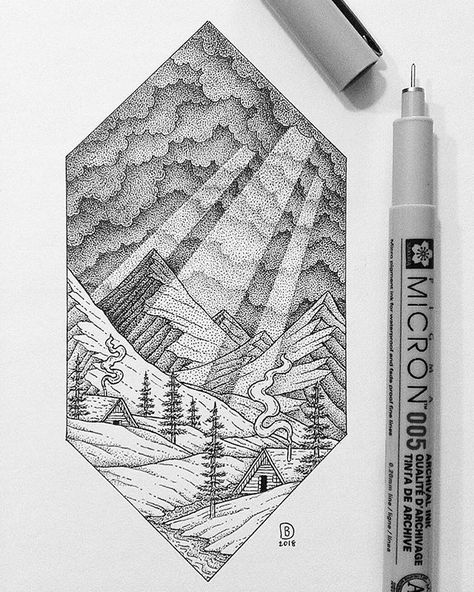 Want To Get Inspired Check Out This Epic Stippling Nature Pendrawing By Dylan Brady Dylan Brady Of Sunbe Stippling Drawing Cloud Drawing Ink Pen Drawings