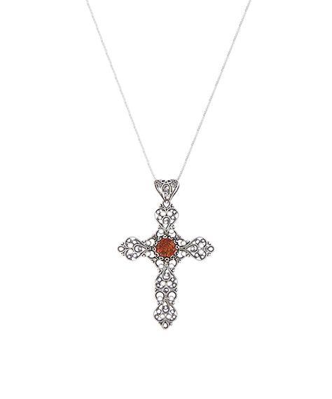 Bold Sterling Silver Filigree-Style Ankh Cross Pendant Necklace