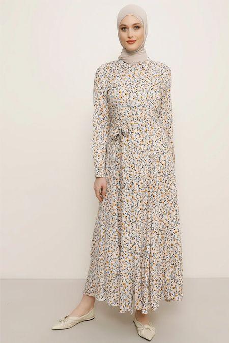 Pudra Safran Dogal Kumasli Cicekli Elbise 2020 The Dress Cicekli Elbise Elbise