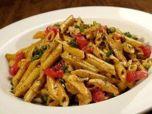 Firebird Pasta - (chili asiago cream sauce, penne pasta, chicken, apple wood-smoked bacon, green onions and tomato)