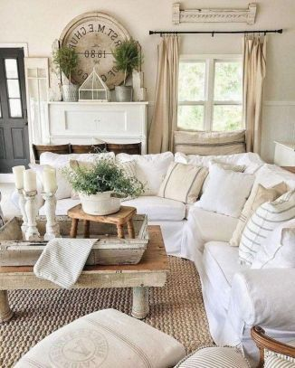 Living Room French Country Shabby Chic