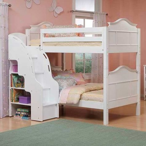 Creekside White Wash Twin Twin Step Bunk Bed W Desk Kid Bedroom Ideas Bunk Beds Kids Bunk Beds Bunk Bed With Desk