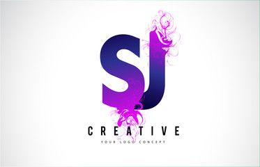 Sj S J Purple Letter Logo Design With Liquid Effect Flowing Letter Logo Design Logo Design Letter Logo