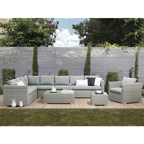 8 Seater Rattan Garden Sofa Set In Grey Xxl Rattan Garden Furniture Garden Sofa Set Furniture Sofa Set