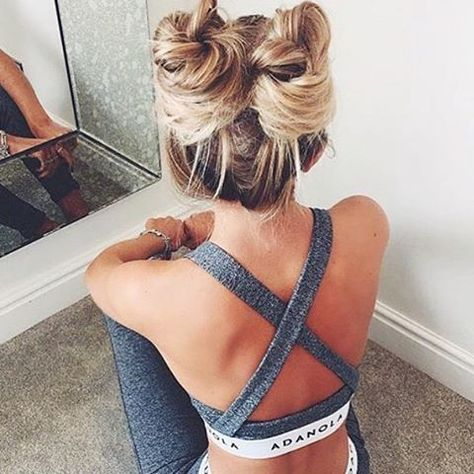 Super cute Tuesday hair vibe ✨. We are all about these Princess Leia style gym…