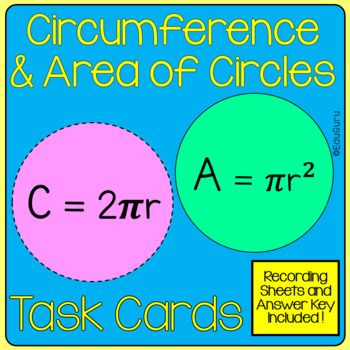 Circles Area And Circumference Task Card Pack Task Cards Math