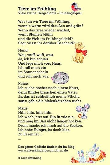 Tiere Im Fruhling Elkes Kindergeschichten Fruhlingsgedichte Fur Kinder Geschichten Fur Kinder Tiergedichte