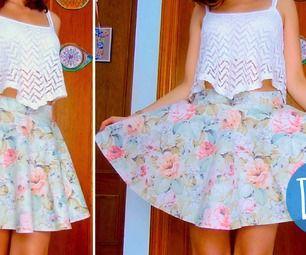 DIY skater/circle skirt in 3 steps! (No zipper/no elastic band) #fashion #sewing