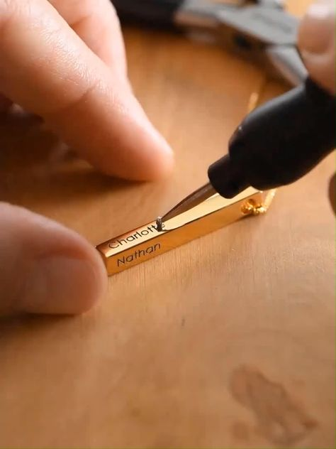 Our personalized 4 sided vertical bar necklace is a perfect juxtaposition of classic and modern. Personalize this pendant with your choice of metal finish varying from gold, silver, to rose gold, and with inscription of your initial, name, custom messages, or custom coordinates to keep your special moments close to your heart. #barnecklace #personlized #necklaces Sweet, meaningful, and timeless, this vertical pendant necklace is our go-to gift for mom, grandma, wife, and your life