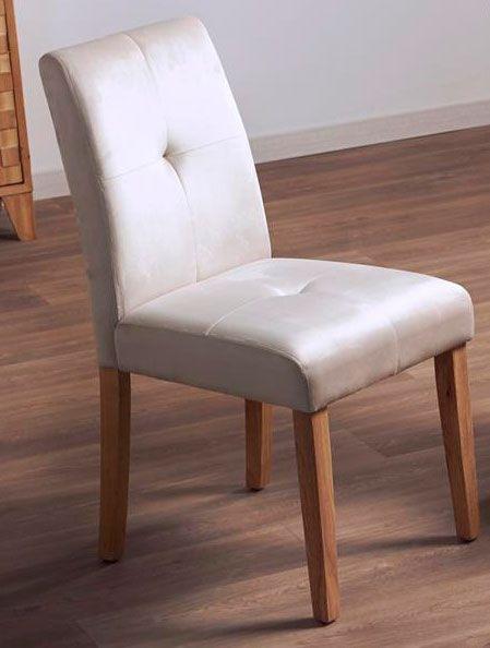 Silla comedor tapizada en beige estilo actual, silla con
