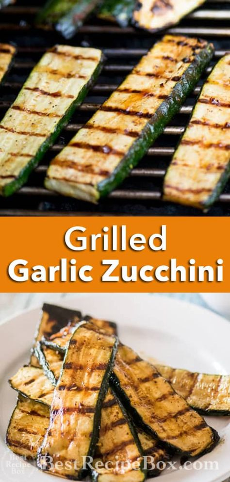 Grilled Garlic Zucchini is easy vegetarian grilled vegeteable recipe or BBQ zucchini recipe. Grilled zucchini is healthy, low carb and delicous with garlic Bbq Zucchini, Grilled Zucchini Recipes, Zuchinni Recipes, Grilled Veggies, Zucchini Bread, Zucchini On The Grill, Grilled Zucchini Squash, Vegetable Dishes, Vegetarian Food
