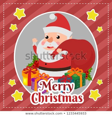 Template Merry Christmas With Santa Claus Bring Sacks Of Gift Christmas Gift Present Hat Vec Christmas Card Template Merry Christmas Card Christmas Cards