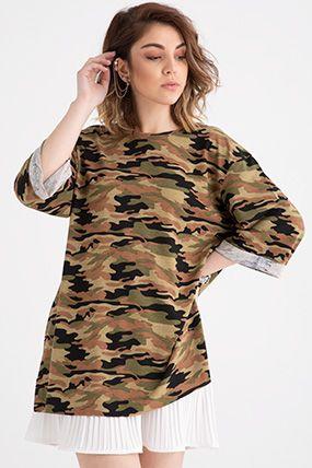 19y42 kamuflaj desenli bayan t shirt uzun elbi se kadin giyim giyim
