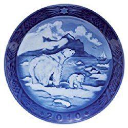 Royal Copenhagen Christmas Plate 2010 Christmas Polar Bears In Greenland FedEx