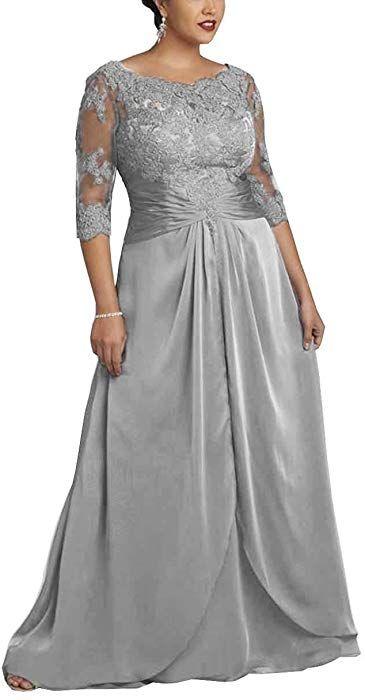 Amazon.com: DMDRS Women\'s Plus Size Grey Chiffon Sheer Long Evening ...