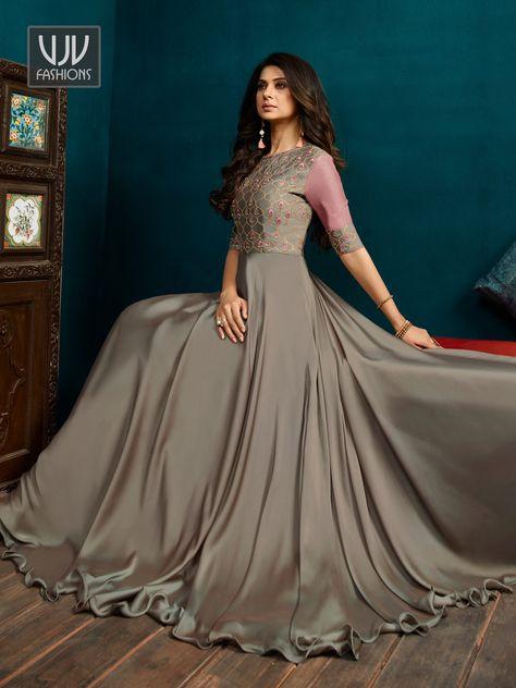 4e93cca041f69b Buy Jennifer Winget Grey Celebrity Anarkali Suit - VJV