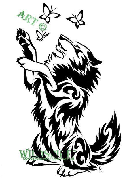 Wolf And Butterflies Tattoo By Wildspiritwolf On Deviantart Tribal Drawings Tribal Wolf Tattoo Wolf Tattoo Design