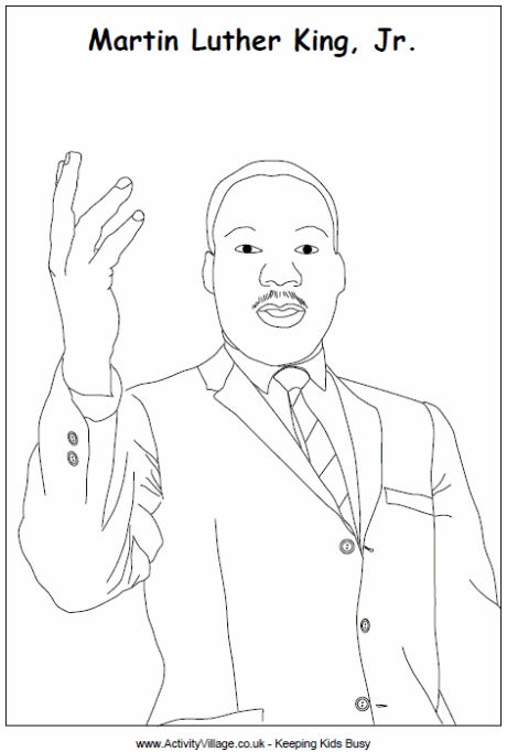 Martin Luther King Colouring Page Martin Luther King Jr
