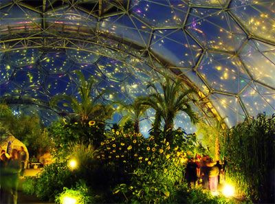 Inside tropical biodome at night. Eden project biodomes in UK working to help urban communities food initiative