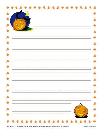 Halloween Writing Paper Printable Lined Writing Paper
