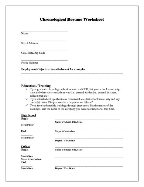 resume template worksheet and building worksheeto example outline - resume worksheet for high school students