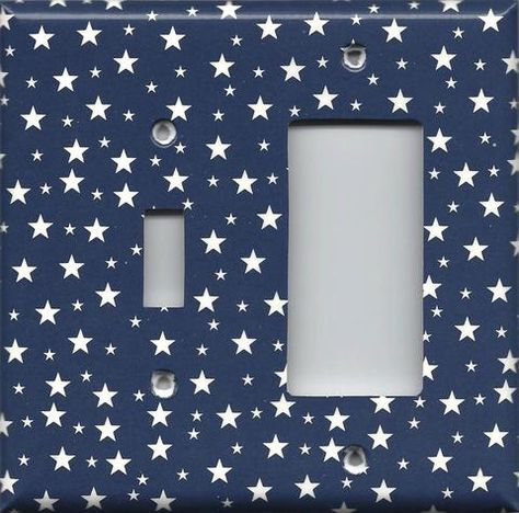 Combo Light Switch And Rocker Gfi Outlet Cover In Navy Blue White Stars Americana Night Sky Simply Chic Gal Handmade Home Decor Beautiful Farmhouse