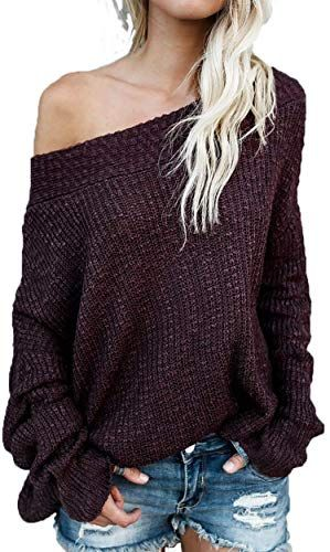 Plus Size Womens One Shoulder Knitted Jumper Ladies Baggy Sweater Pullover Tops