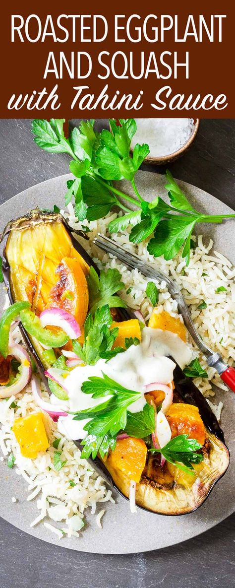This Roasted Eggplantand Butternut Squash with Tahini-Yogurt Sauce is a fantastic vegetarian main course. Make it for the holidays or dinner parties. Roast everything on one sheet pan. #Eggplant #ButternutSquash #Tahini #HolidaySide #Vegetarian #GlutenFree
