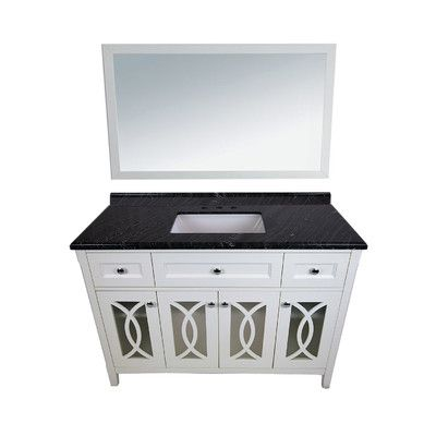 Best Photo Gallery Websites LUXE by Deluxe Vanity Grazia Single Bathroom Vanity Set with Mirror Base Finish White Top Finish Black Wood Bathroom vanity units White tops and