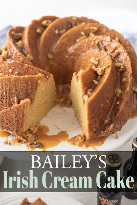 Bailey's Irish Cream Cake - Bailey's Irish Cream and White Chocolate flavored cake for St. Patrick's Day, Spring, or Easter. Can be made as a bundt or 9x13 cake. #stpatricksday #cake #dessert #food #irish #recipe #stpattysday