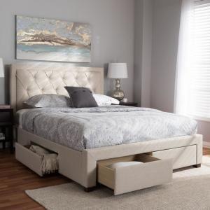 Baxton Studio Aurelie Light Beige Queen Storage Bed 145 8126 Hd