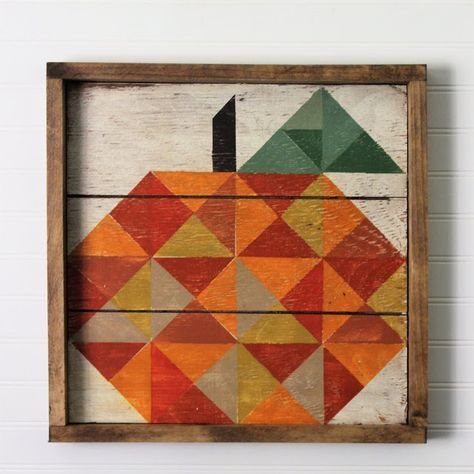 Our darling Little Pieces Pumpkin has it's own frame! Hand painted on reclaimed wood, framed in walnut and ready to hang or put up on a shelf. Barn Quilt Designs, Barn Quilt Patterns, Quilting Designs, Quilting Tips, Pallet Barn, Barn Wood, Painted Barn Quilts, Barn Art, House Quilts