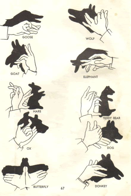 shadow puppets   ...could print out and attach laminated w a DIY fort kit for a child's gift!