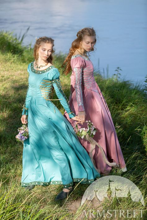 """Medieval cotton dress with puffed sleeves """"Water Flowers"""" for sale. Available in: turquoise poplin, thulian pink poplin, water flowers green trim, water flowers beige trim :: by medieval store ArmStreet Medieval Dress, Medieval Outfits, Flowers For Sale, Wedding Dresses With Flowers, Medieval Jewelry, Poplin Dress, Renaissance Clothing, Pleated Bodice, Water Flowers"""