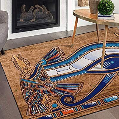 Amazon Com Naanle Egypt Area Rug 5 X7 Egyptian Horus Eye Polyester Area Rug Mat For Living Dining Dorm Room Bedroom Home Deco Rugs On Carpet Egypt Area Rugs