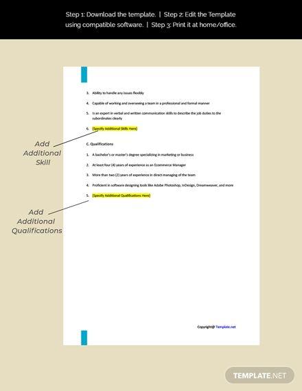 Free Ecommerce Manager Job Description Template Ad Paid Manager Ecommerce Free Template In 2020 Job Description Template Free Ecommerce Job Description
