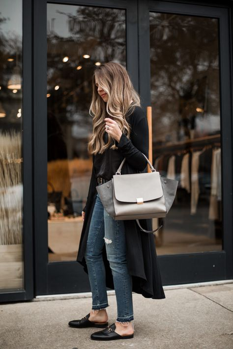 Long Drape Cardigan and Celine Trapeze Bag #styleblogger #TTD