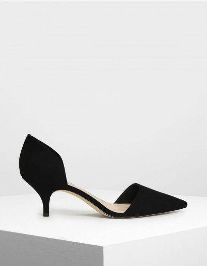 D Orsay Glitter Fabric Kitten Heel Pumps In 2020 Kitten Heels Outfit Black Kitten Heels Kitten Heel Shoes