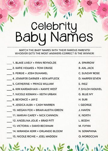 Celebrity Baby Names Baby Shower Games Baby Shower Activity