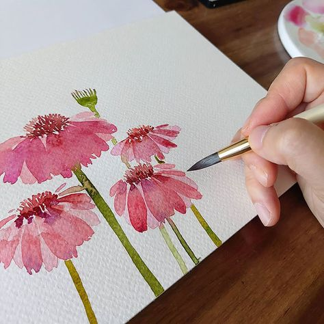 Watercolor Art Lessons, Watercolor Paintings For Beginners, Watercolor Lettering, Pen And Watercolor, Beginner Painting, Watercolor Artwork, Painting Ideas For Beginners, Watercolor Tutorials, Watercolor Sunflower