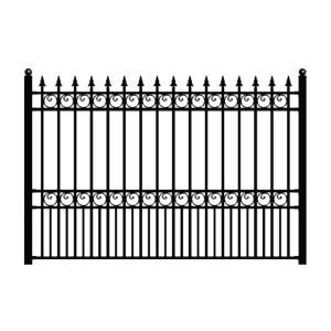 Aleko London Style 5 Ft X 8 Ft Black Iron Fence Panel Fencelon Hd The Home Depot In 2020 Metal Fence Panels Iron Fence Panels Iron Fence