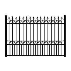 Aleko London Style 5 Ft X 8 Ft Black Iron Fence Panel Fencelon