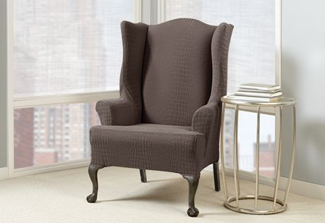 Sure Fit Slipcovers Stretch Crocodile Wing Chair Slipcovers - wing chair & Sure Fit Slipcovers Stretch Crocodile Wing Chair Slipcovers - wing ...