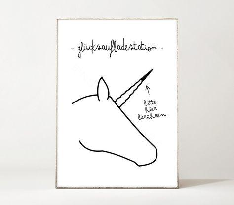 Einhorn-Poster mit Glücksaufladestation, Motivation, Wanddeko / art print with unicorn, motivational quote, wall decoration made by Einsaushundert via DaWanda.com