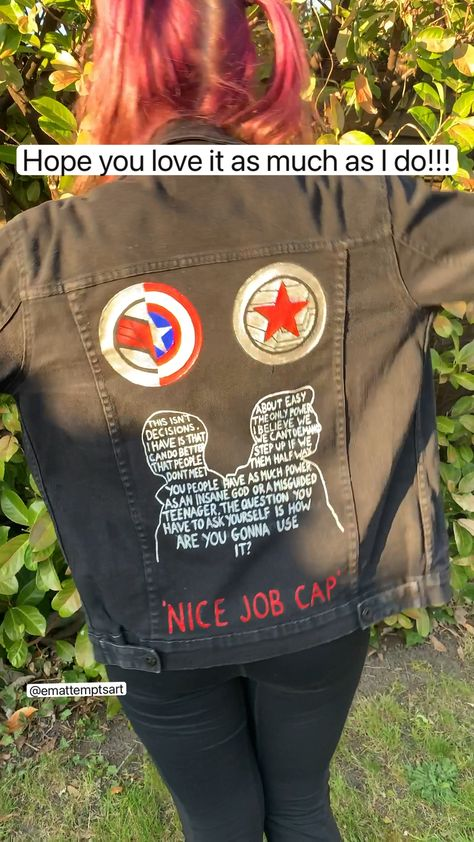 Painting myself a 'the falcon and the winter soldier' marvel inspired denim jacket!!