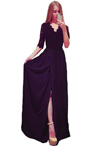 fe3e1442ce1d emmarcon Elegante Abito Cerimonia da Donna Vestito Lungo Damigella Scollo a  V Festa Party-Black