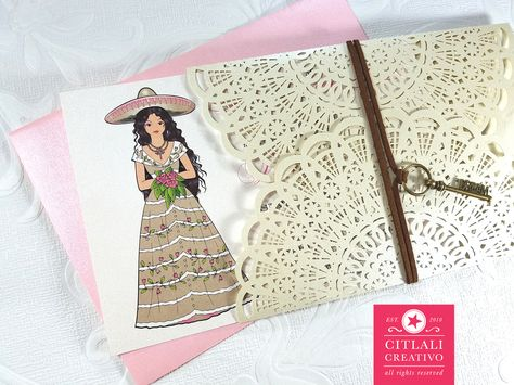 Charra Laser Cut Quinceañera Invitations - Chica Charro Invitaciones - Mexican fiesta theme invitations - made by citlalicreativo.com & ship anywhere! #charro #invitaciones #quinceañera #misquince #quinceanera #quinceideas #quinceparty